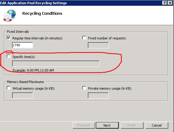 Set up periodic recycling for an application pool in IIS