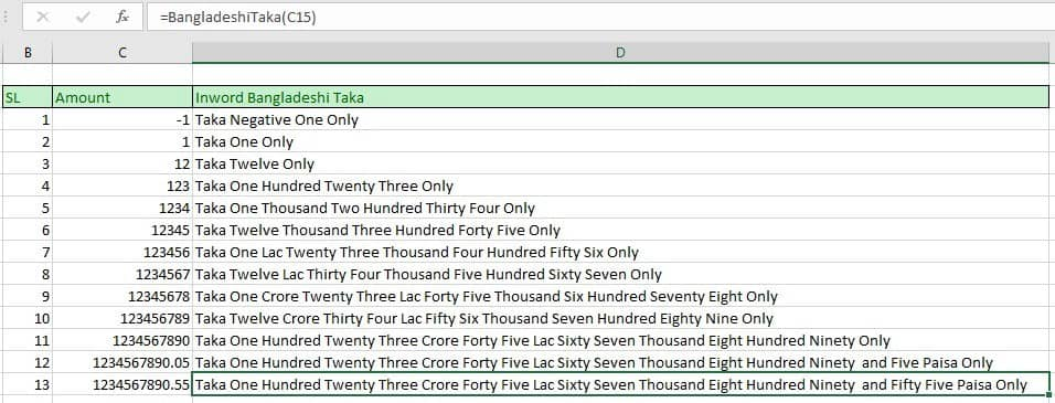 Convert Number to Words Bangladesh Taka (BDT) in Excel